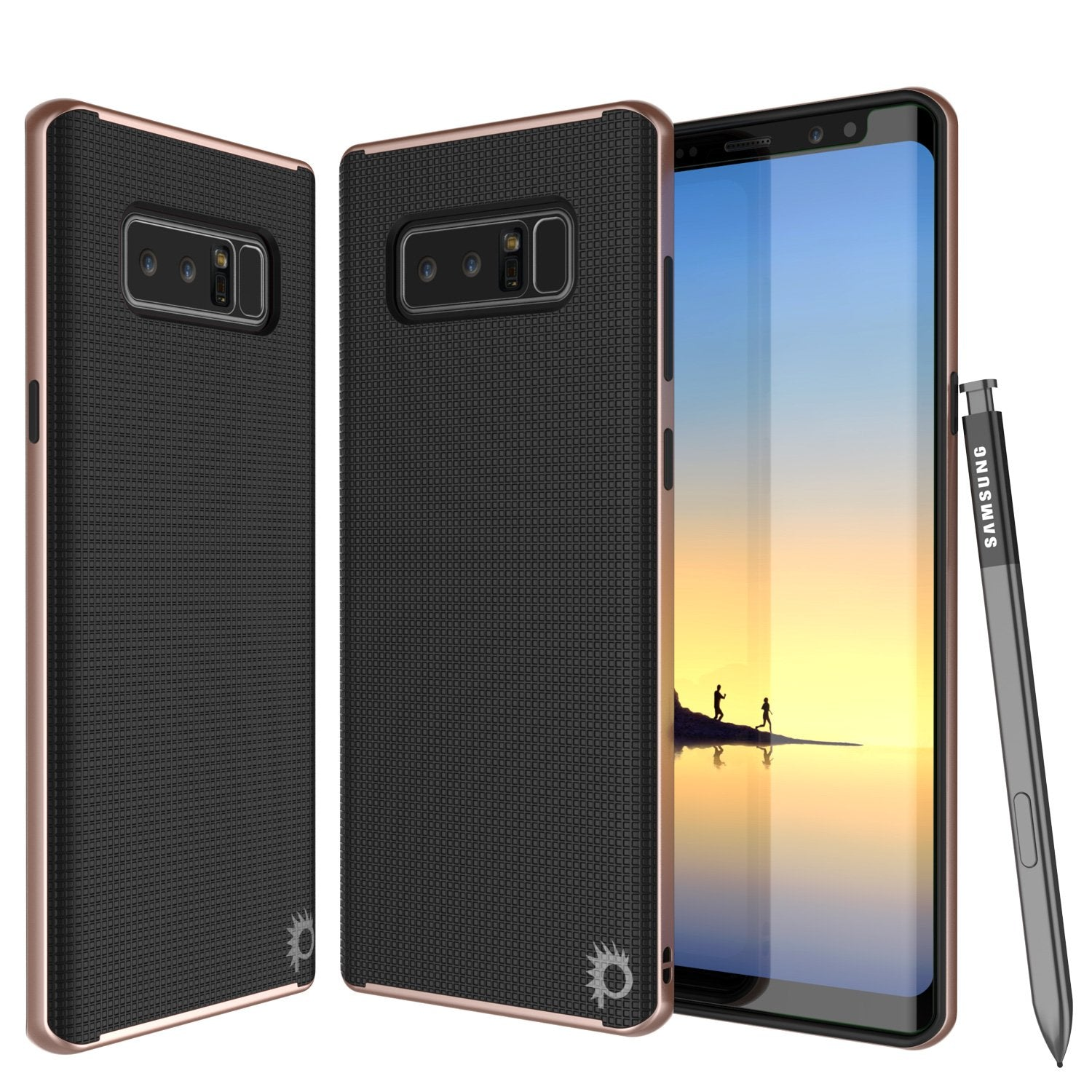 Galaxy Note 8 Case, PunkCase [Stealth Series] Hybrid 3-Piece Shockproof Dual Layer Cover [Non-Slip] [Soft TPU + PC Bumper] with PUNKSHIELD Screen Protector for Samsung Note 8 [Rose Gold]