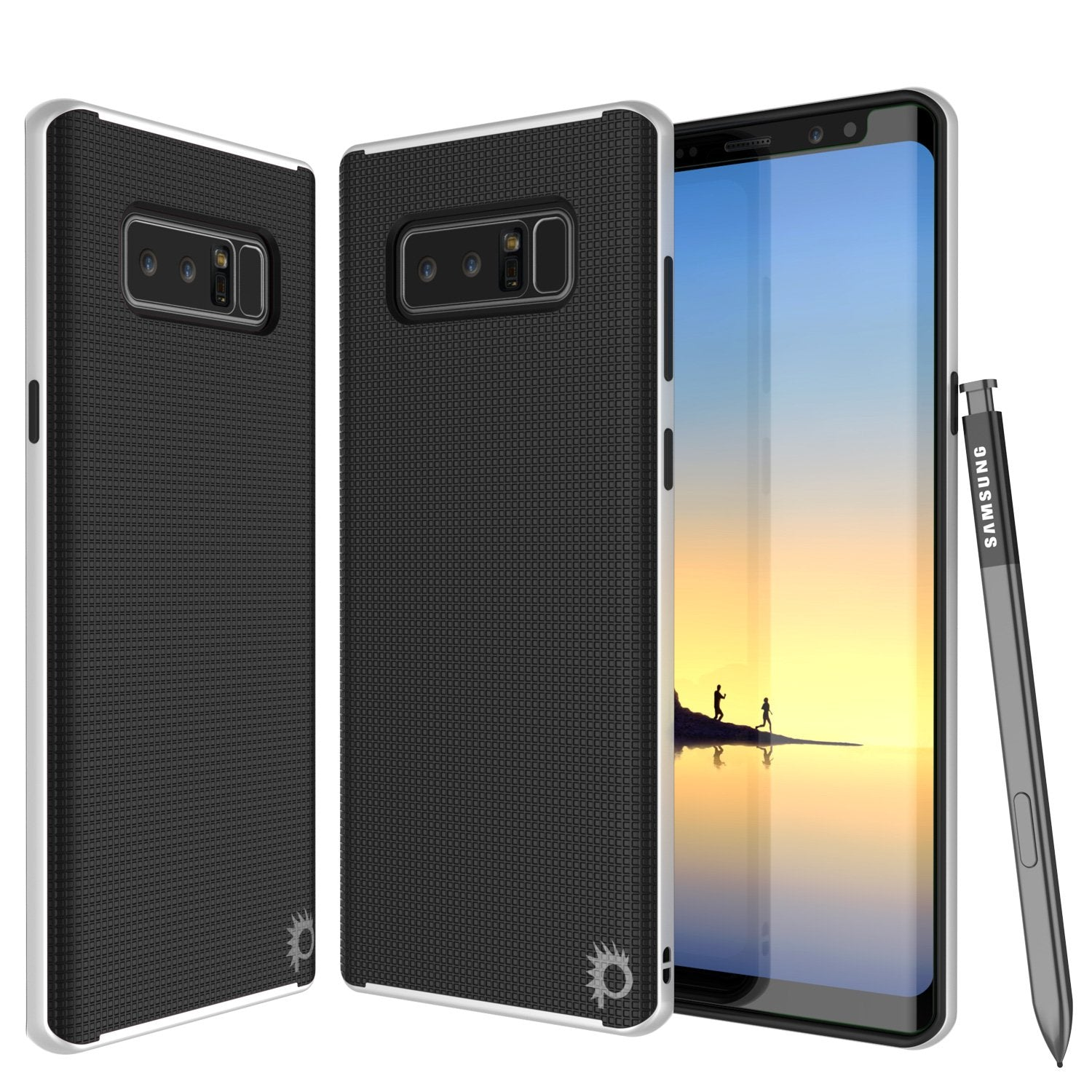 Galaxy Note 8 Case, PunkCase [Stealth Series] Hybrid 3-Piece Shockproof Dual Layer Cover [Non-Slip] [Soft TPU + PC Bumper] with PUNKSHIELD Screen Protector for Samsung Note 8 [White]