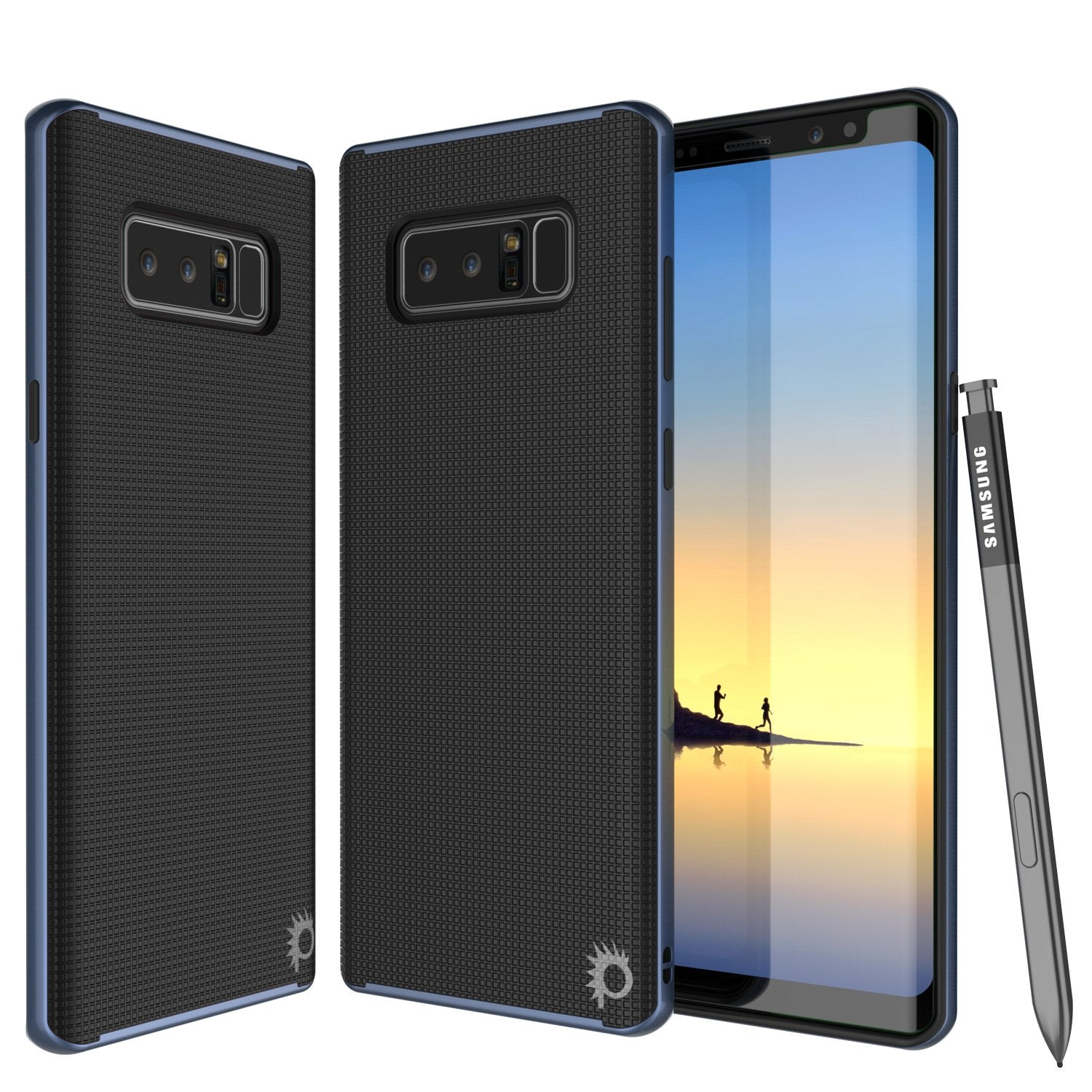 Galaxy Note 8 Case, PunkCase [Stealth Series] Hybrid 3-Piece Shockproof Dual Layer Cover [Non-Slip] [Soft TPU + PC Bumper] with PUNKSHIELD Screen Protector for Samsung Note 8 [Navy Blue]