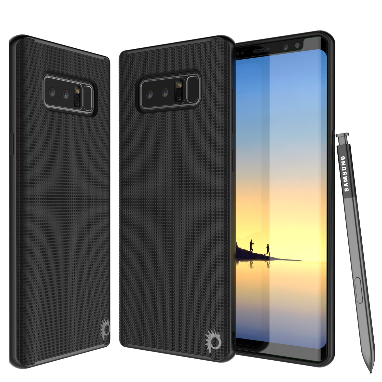 Galaxy Note 8 Case, PunkCase [Stealth Series] Hybrid 3-Piece Shockproof Dual Layer Cover [Non-Slip] [Soft TPU + PC Bumper] with PUNKSHIELD Screen Protector for Samsung Note 8 [Black]
