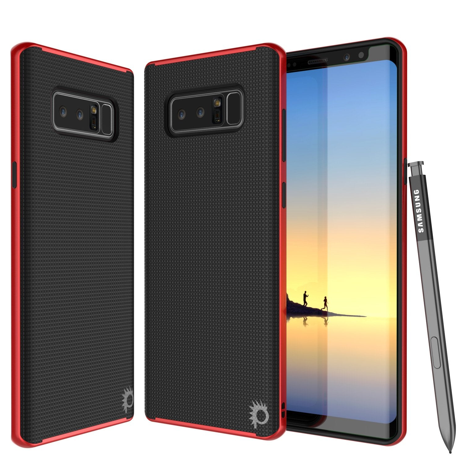 Galaxy Note 8 Case, PunkCase [Stealth Series] Hybrid 3-Piece Shockproof Dual Layer Cover [Non-Slip] [Soft TPU + PC Bumper] with PUNKSHIELD Screen Protector for Samsung Note 8 [Red]