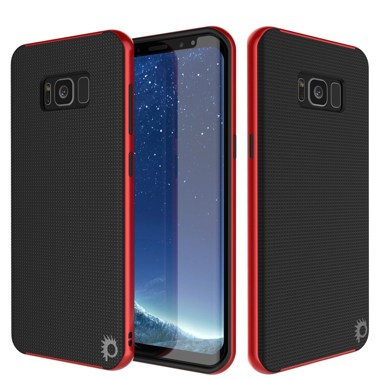 Galaxy S8 PLUS Case, PunkCase [Stealth Series] Hybrid 3-Piece Shockproof Dual Layer Cover [Non-Slip] [Soft TPU + PC Bumper] with PUNKSHIELD Screen Protector for Samsung S8+ [Red]