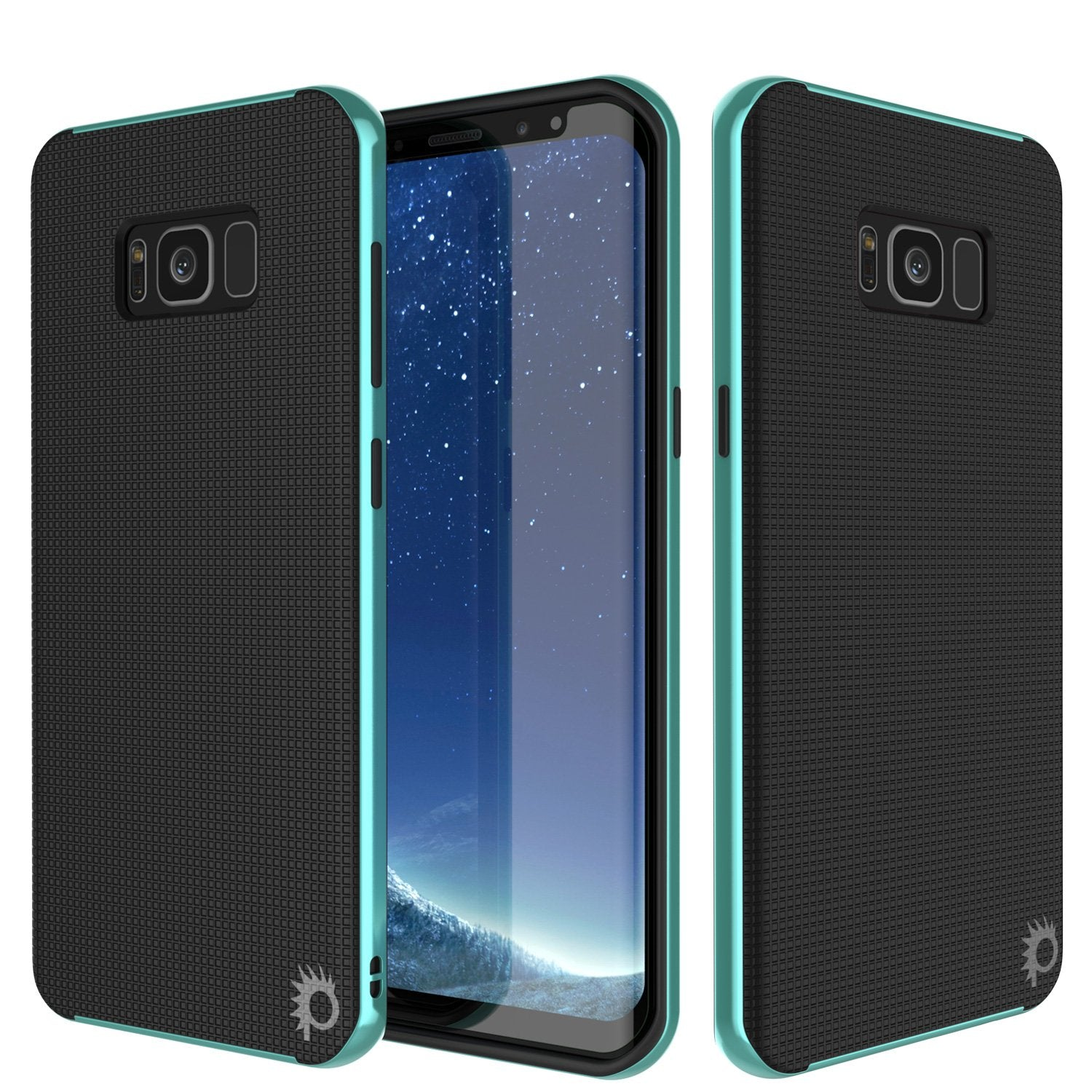 Galaxy S8 PLUS Case, PunkCase [Stealth Series] Hybrid 3-Piece Shockproof Dual Layer Cover [Non-Slip] [Soft TPU + PC Bumper] with PUNKSHIELD Screen Protector for Samsung S8+ [Teal]