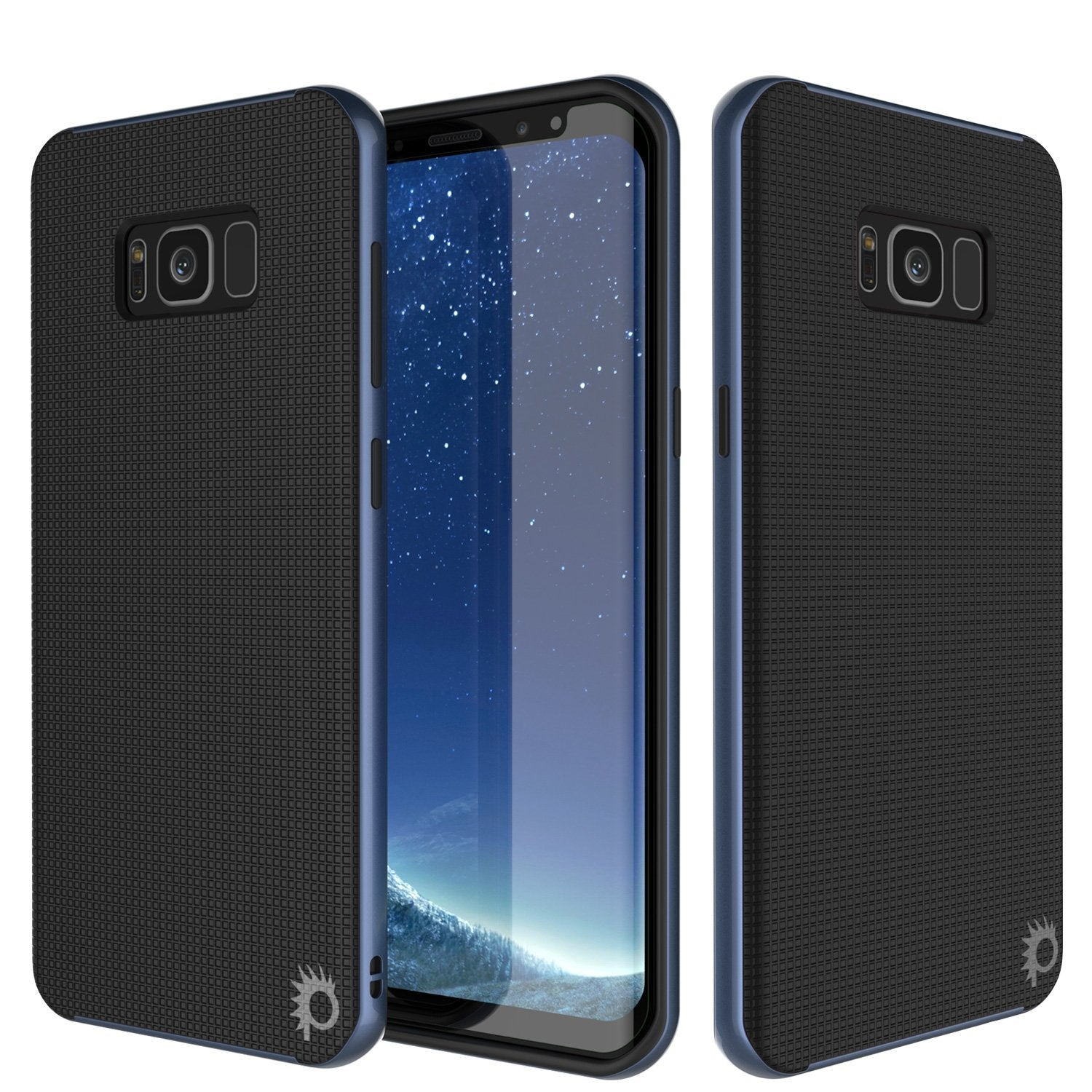 Galaxy S8 PLUS Case, PunkCase [Stealth Series] Hybrid 3-Piece Shockproof Dual Layer Cover [Non-Slip] [Soft TPU + PC Bumper] with PUNKSHIELD Screen Protector for Samsung S8+ [Navy Blue]