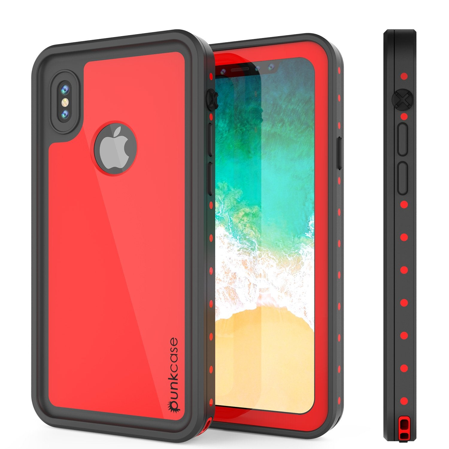 iPhone X Waterproof IP68 Case, Punkcase [Red] [StudStar Series] [Slim Fit] [Dirtproof]