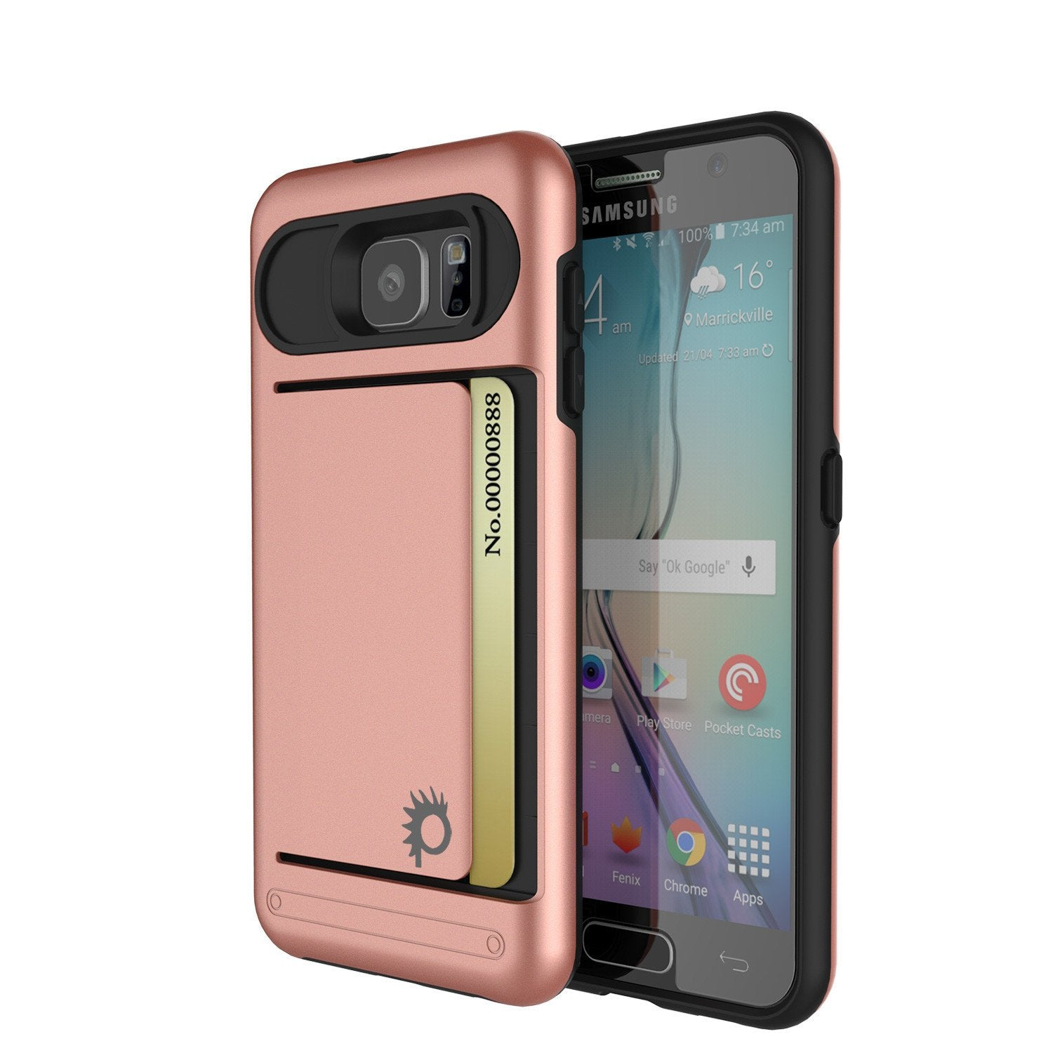 Galaxy S6 EDGE Case PunkCase CLUTCH Rose Gold Series Slim Armor Soft Cover Case w/ Screen Protector