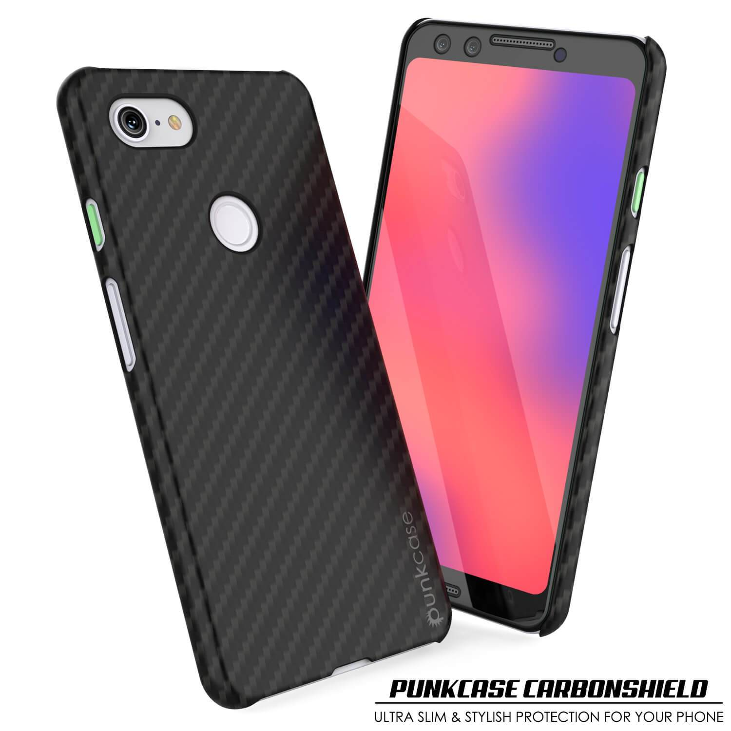 Google pixel 3 CarbonShield Heavy Duty & Ultra Thin 2  Leather Cover - PunkCase NZ