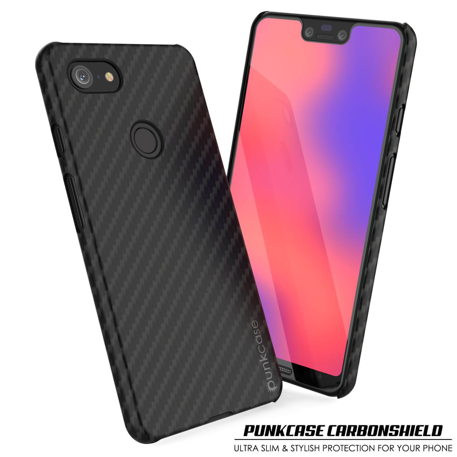Google Pixel 3 XL CarbonShield Heavy Duty & Ultra Thin 2  Leather Cover - PunkCase NZ