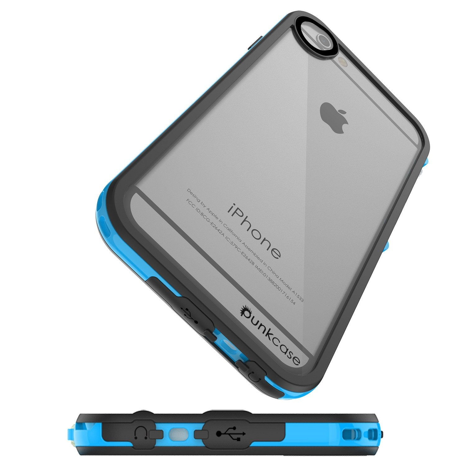 Apple iPhone 7 Waterproof Case, PUNKcase CRYSTAL 2.0 Light Blue  W/ Attached Screen Protector  | Warranty - PunkCase NZ