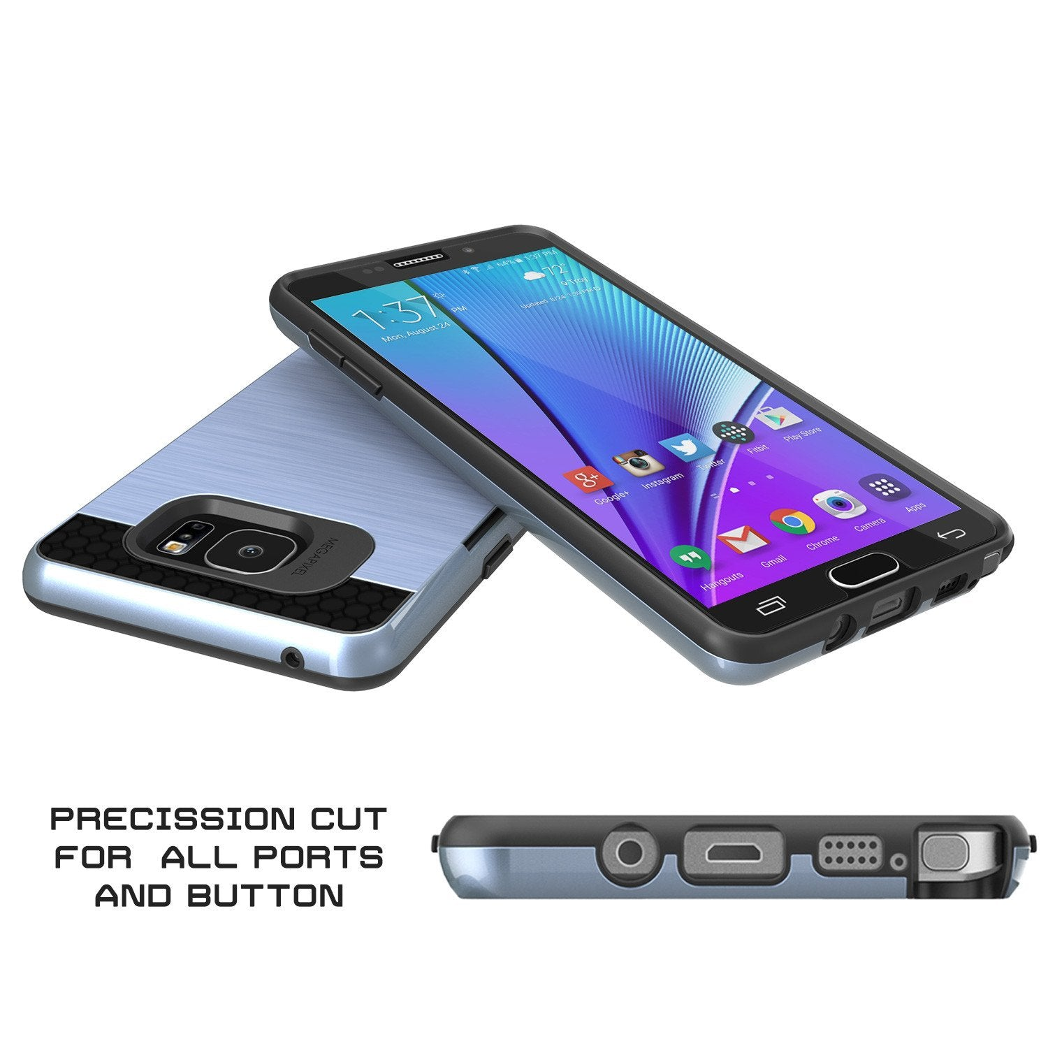 Galaxy Note 5 Case PunkCase SLOT Navy Series Slim Armor Soft Cover Case w/ Tempered Glass - PunkCase NZ