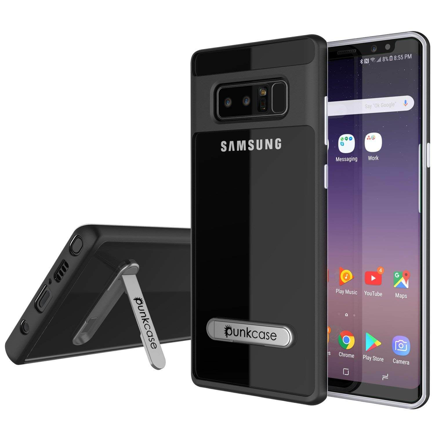 Galaxy Note 8 Case, PUNKcase [LUCID 3.0 Series] Armor Cover w/Integrated Kickstand [Black]