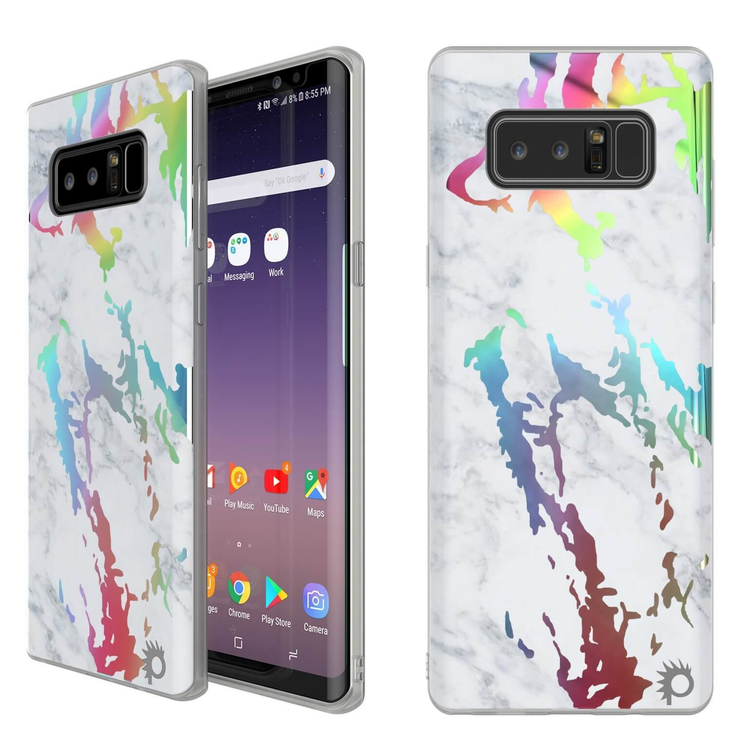 Punkcase Galaxy Note 8 Marble Case, Protective Full Body Cover W/PunkShield Screen Protector (Blanco Marmo)