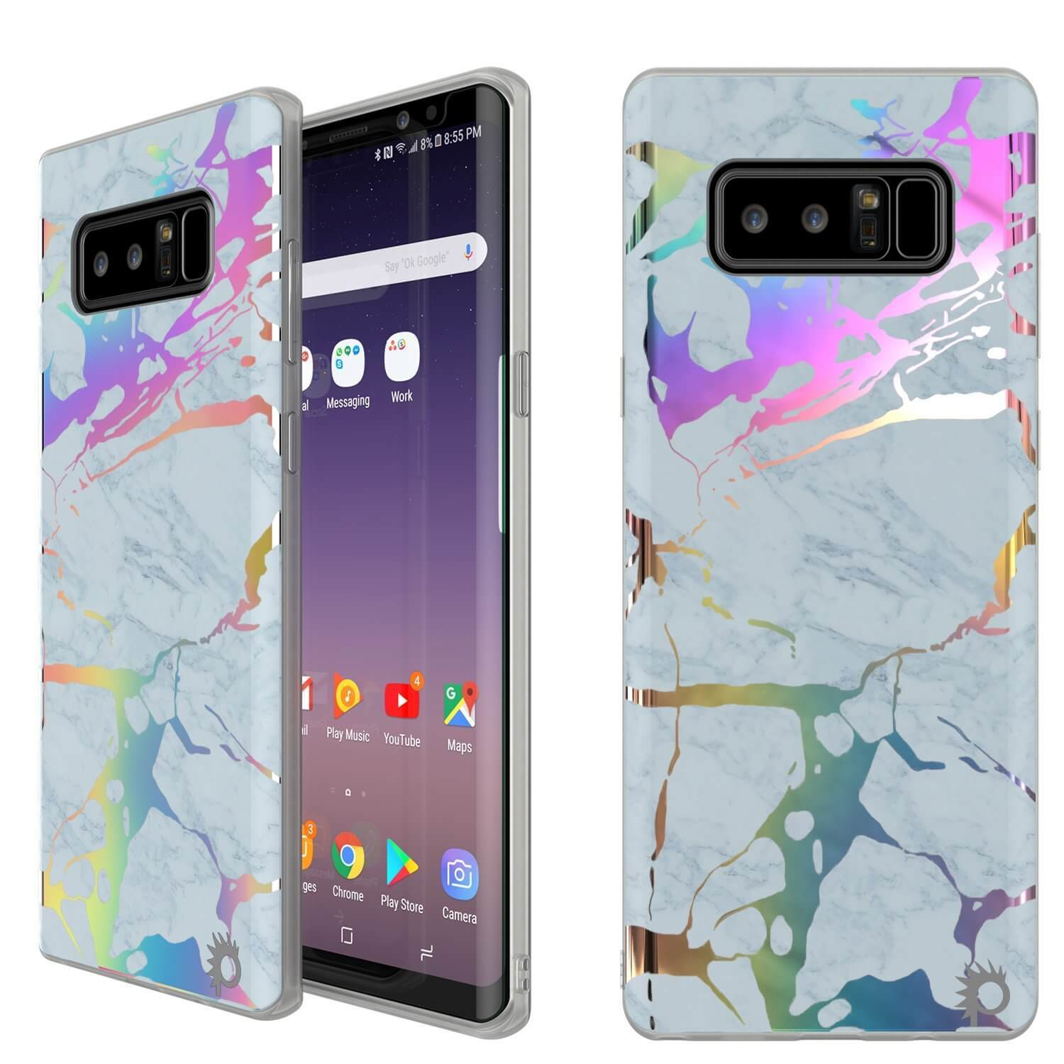 Punkcase Galaxy Note 8 Marble Case, Protective Full Body Cover W/PunkShield Screen Protector (Blue Marmo)