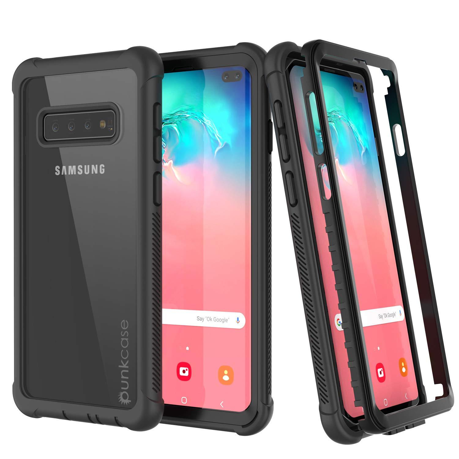 PunkCase Galaxy S10 Plus Case, [Spartan Series] Clear Rugged Heavy Duty Cover W/Built in Screen Protector [Black]