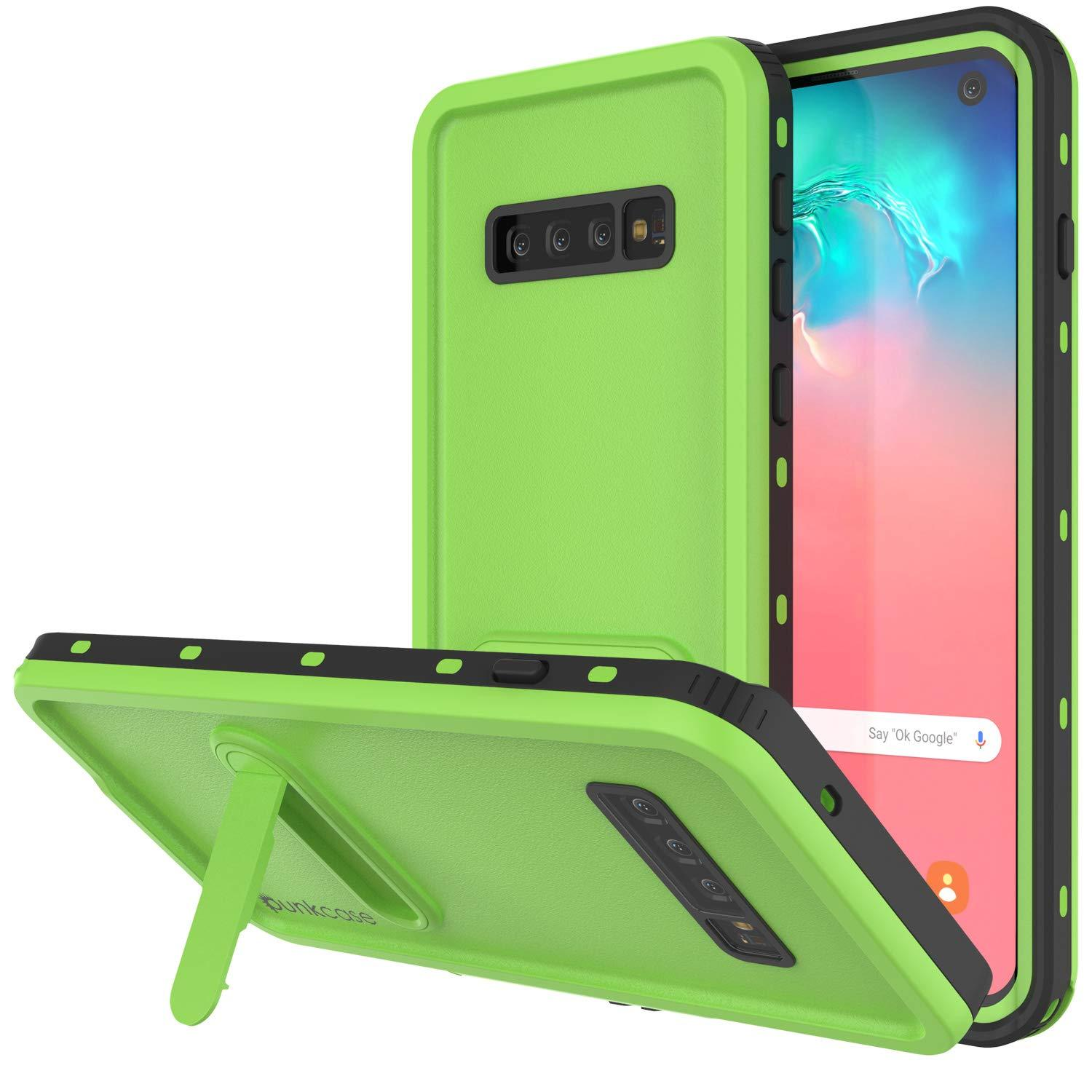 Galaxy S10 Waterproof Case, Punkcase [KickStud Series] Armor Cover [Light Green]