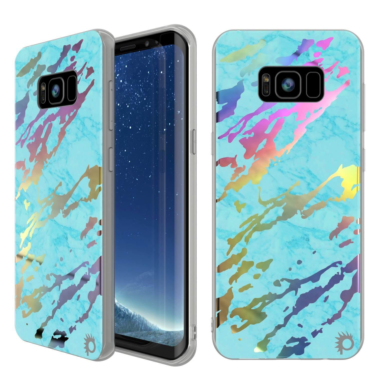 Punkcase Galaxy S8+ PLUS Marble Case, Protective Full Body Cover W/PunkShield Screen Protector (Teal Onyx)
