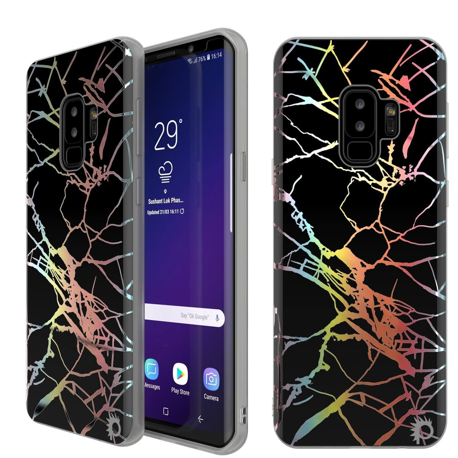 Punkcase Galaxy S9+ Marble Case, Protective Full Body Cover W/PunkShield Screen Protector (Black Mirage)