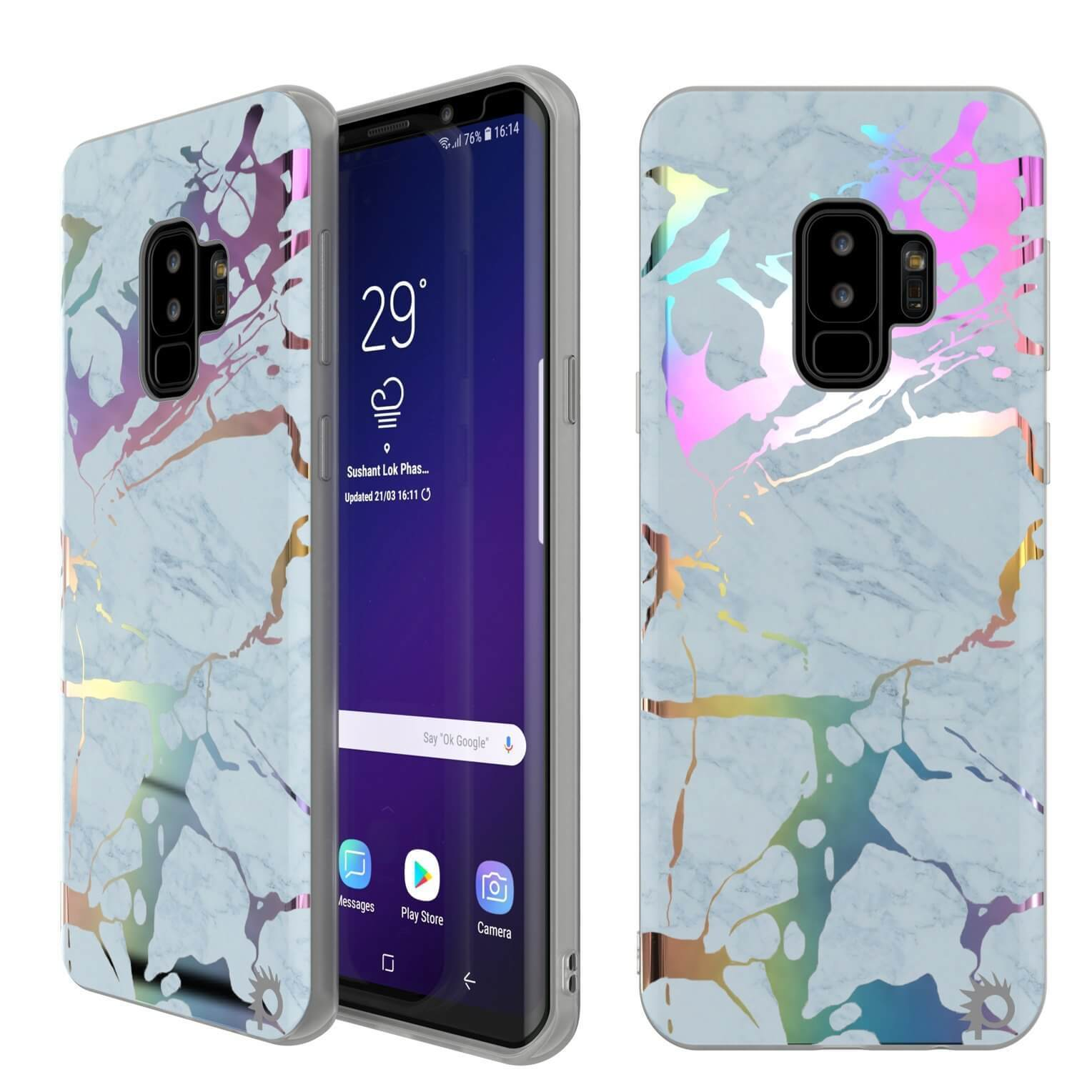 Punkcase Galaxy S9+ Marble Case, Protective Full Body Cover W/PunkShield Screen Protector (Blue Marmo)