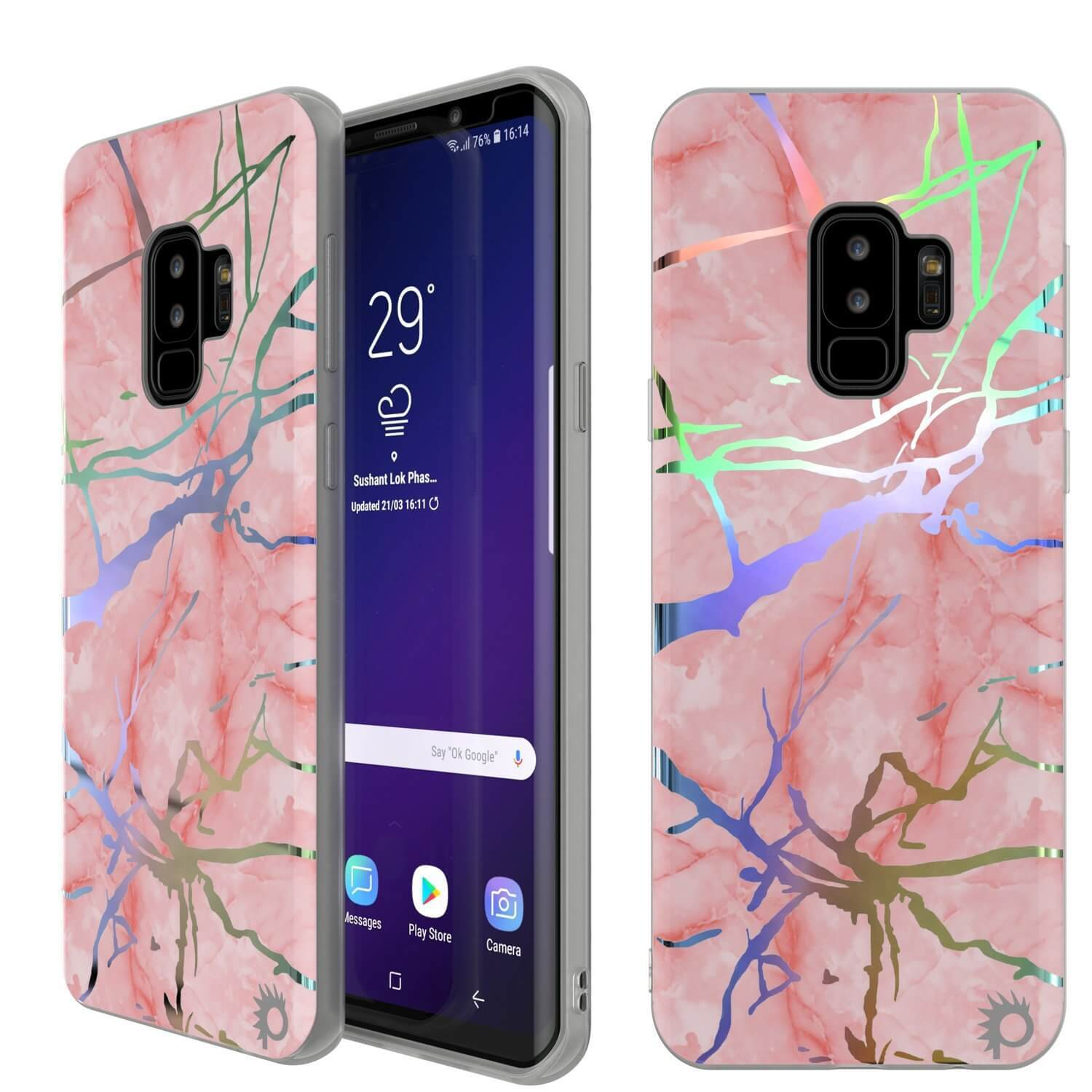 Punkcase Galaxy S9+ Marble Case, Protective Full Body Cover W/PunkShield Screen Protector (Rose Mirage)