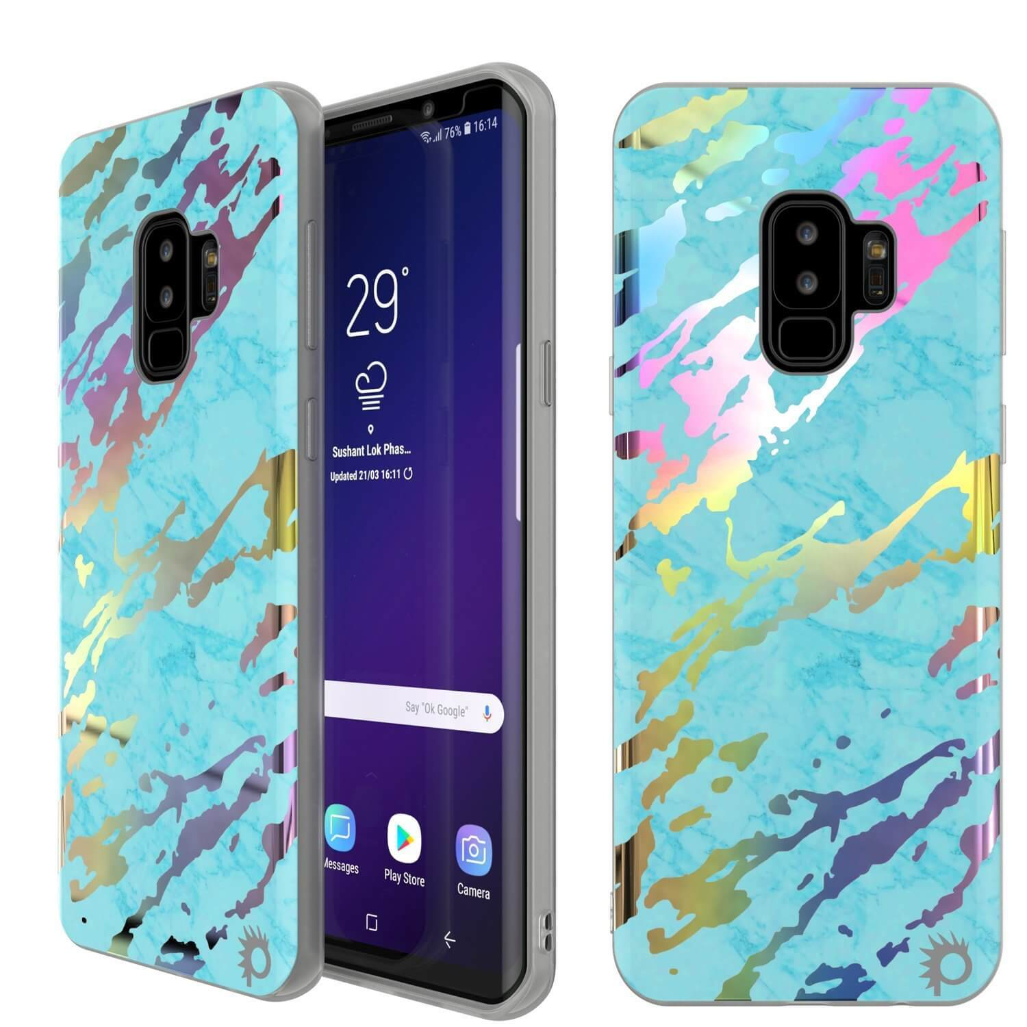 Punkcase Galaxy S9+ Marble Case, Protective Full Body Cover W/PunkShield Screen Protector (Teal Onyx)