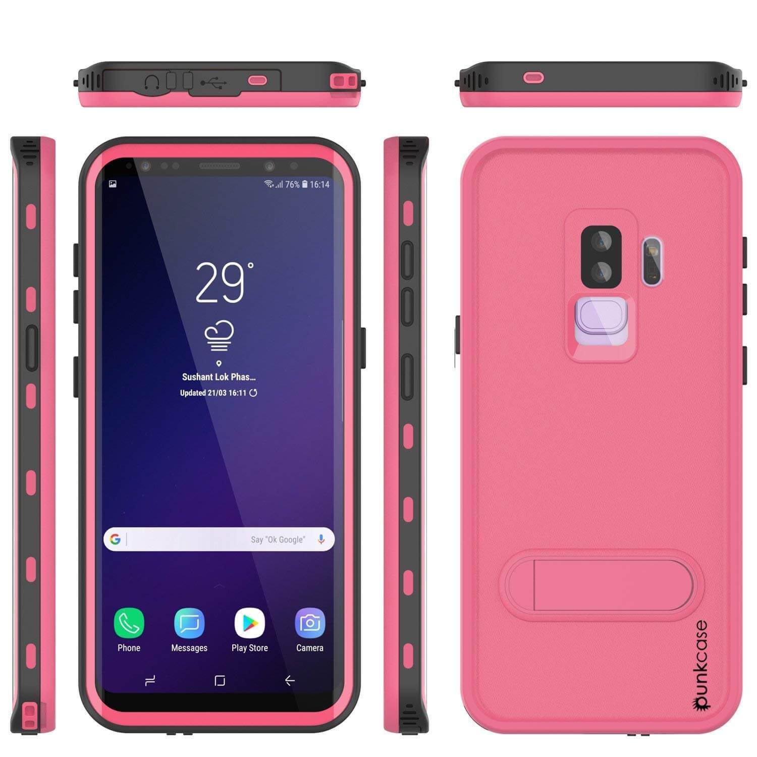 Galaxy S9 Plus Waterproof Case, Punkcase [KickStud Series] Armor Cover [PINK]
