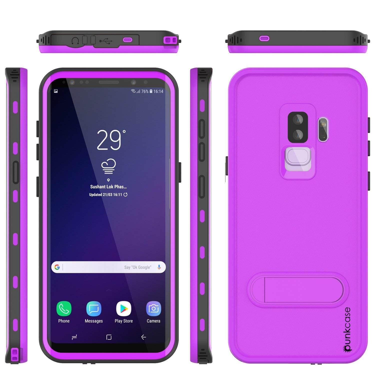 Galaxy S9 Plus Waterproof Case, Punkcase [KickStud Series] Armor Cover [PURPLE]