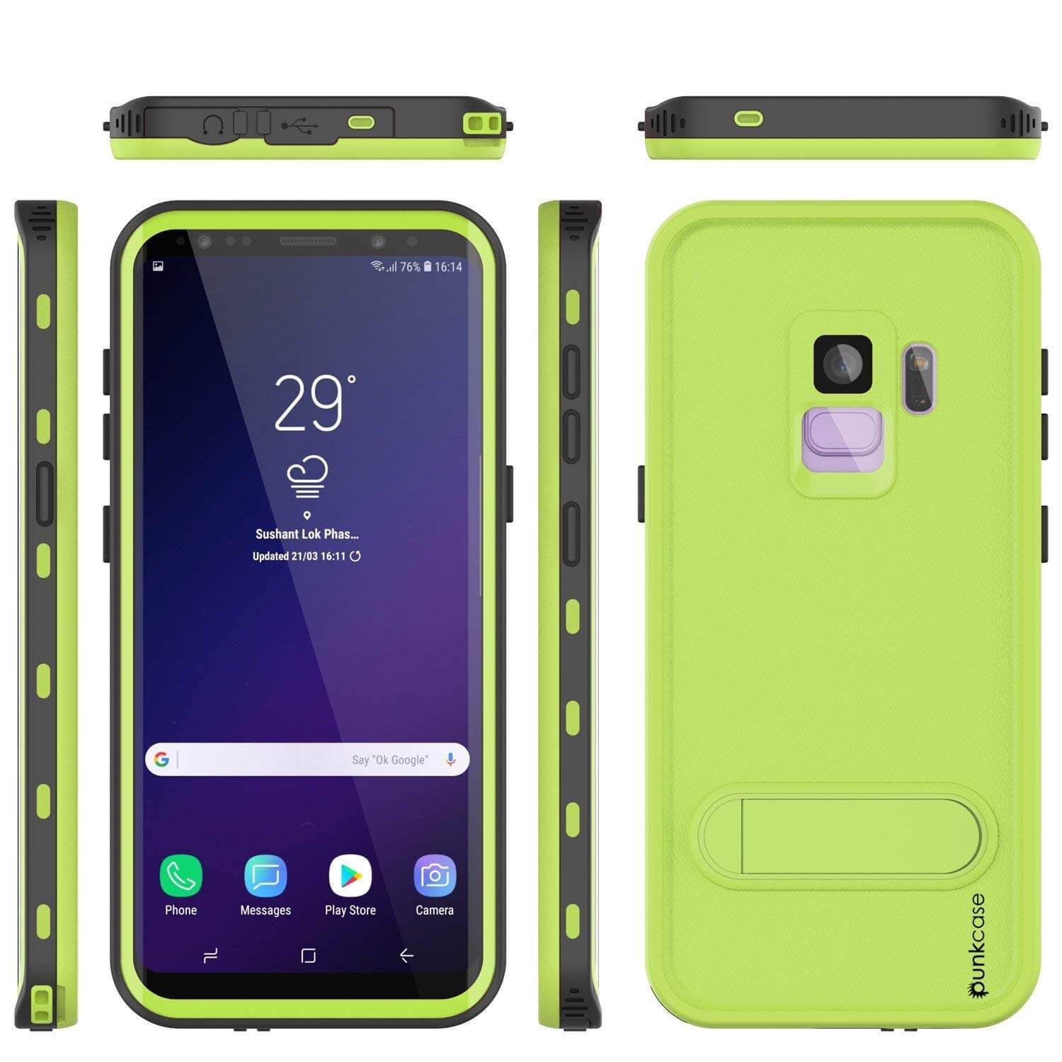 Galaxy S9 Waterproof Case, Punkcase [KickStud Series] Armor Cover [LIGHT GREEN]