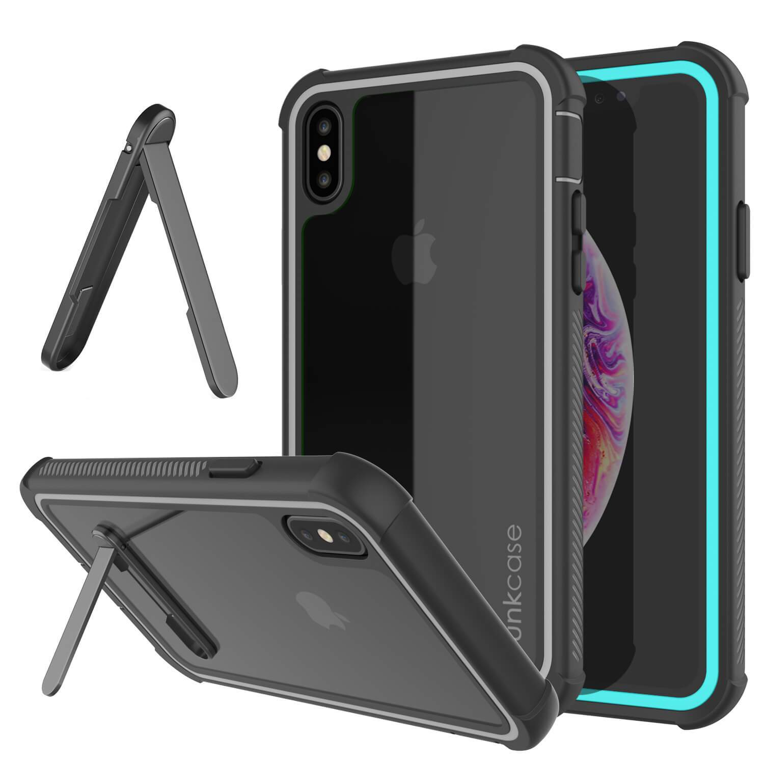 PunkCase iPhone XS Case, [Spartan Series] Clear Rugged Heavy Duty Cover W/Built in Screen Protector [Teal]