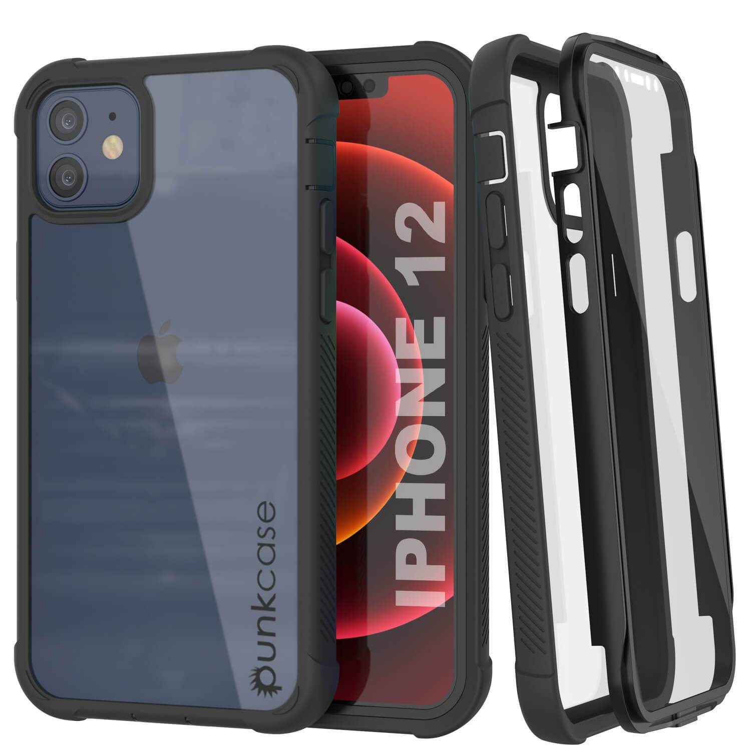 PunkCase iPhone 12 Case, [Spartan Series] Clear Rugged Heavy Duty Cover W/Built in Screen Protector [Black]