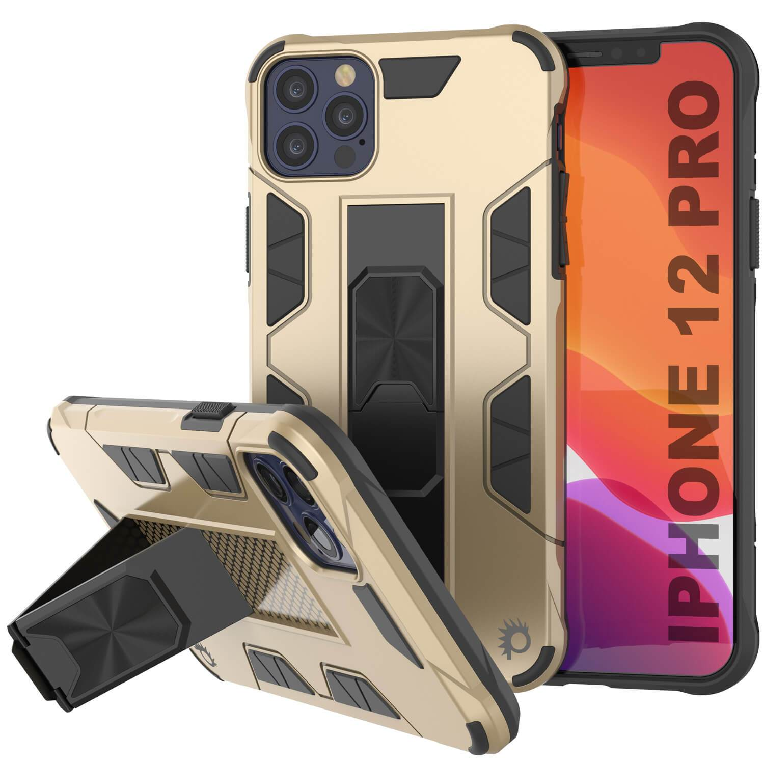 Punkcase iPhone 12 Pro Case [ArmorShield Series] Military Style Protective Dual Layer Case Gold