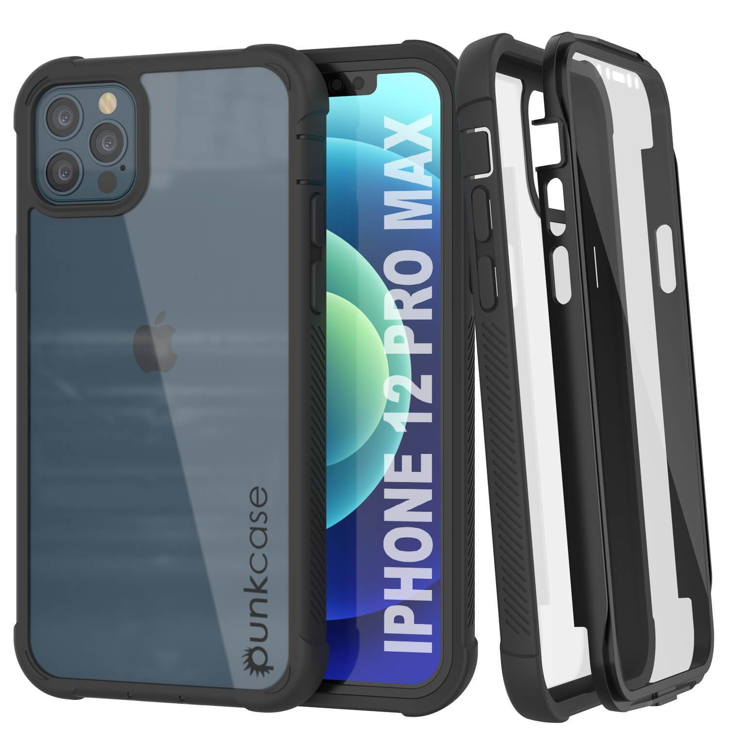 PunkCase iPhone 12 Pro Max Case, [Spartan Series] Clear Rugged Heavy Duty Cover W/Built in Screen Protector [Black]