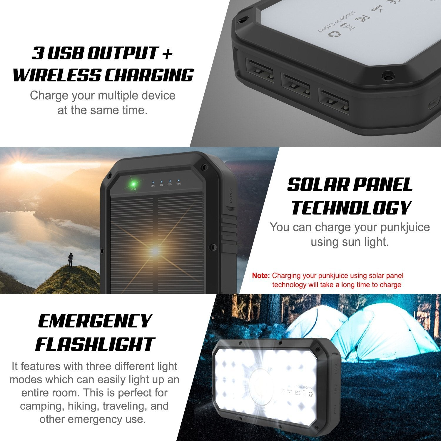 PunkCase Solar Wireless PowerBank 20000mah Battery Pack for iPhone X/XS/Max/XR / 11/10, iPad, Samsung Galaxy S10 / S9 and Many More [Black]