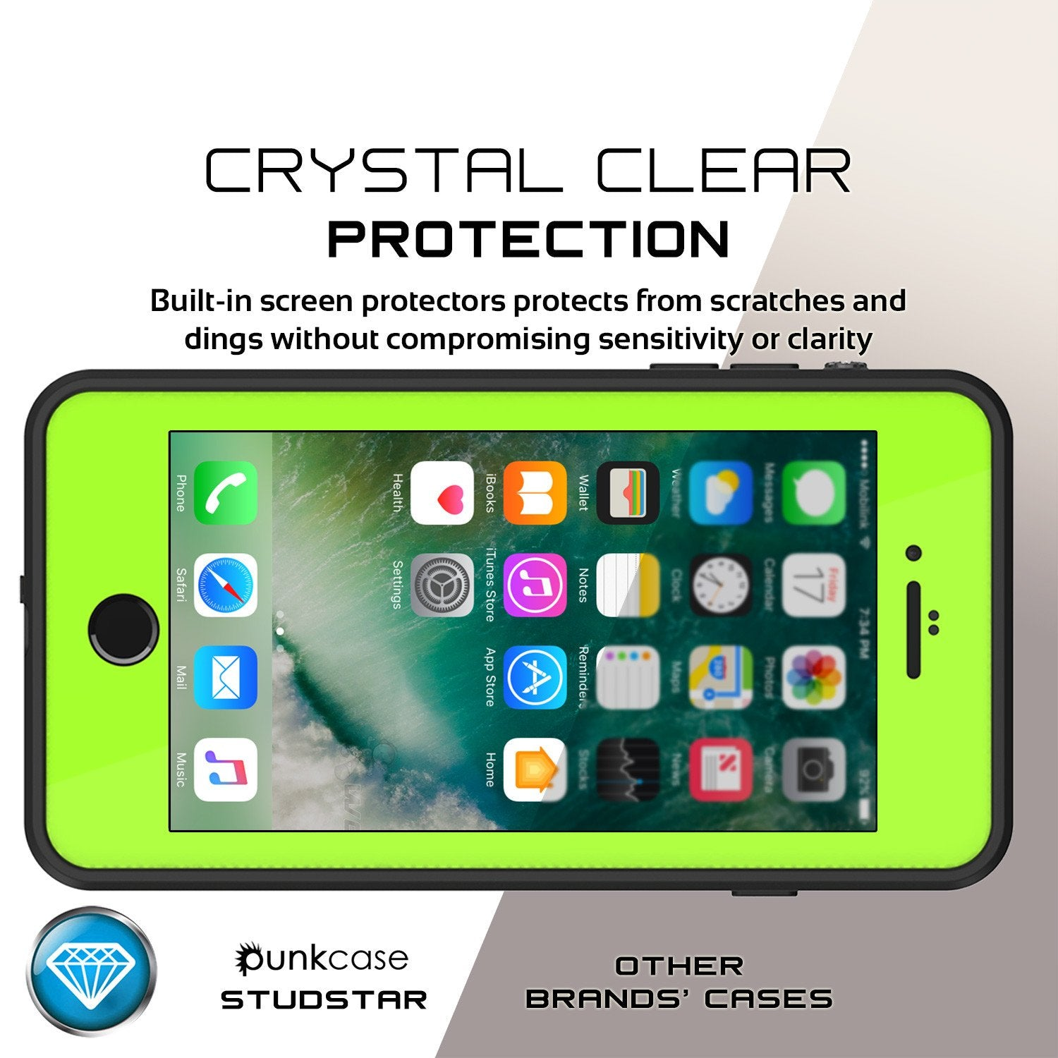 iPhone 7+ Plus Waterproof IP68 Case, Punkcase [Light Green] [StudStar Series] [Slim Fit] [Dirtproof] - PunkCase NZ