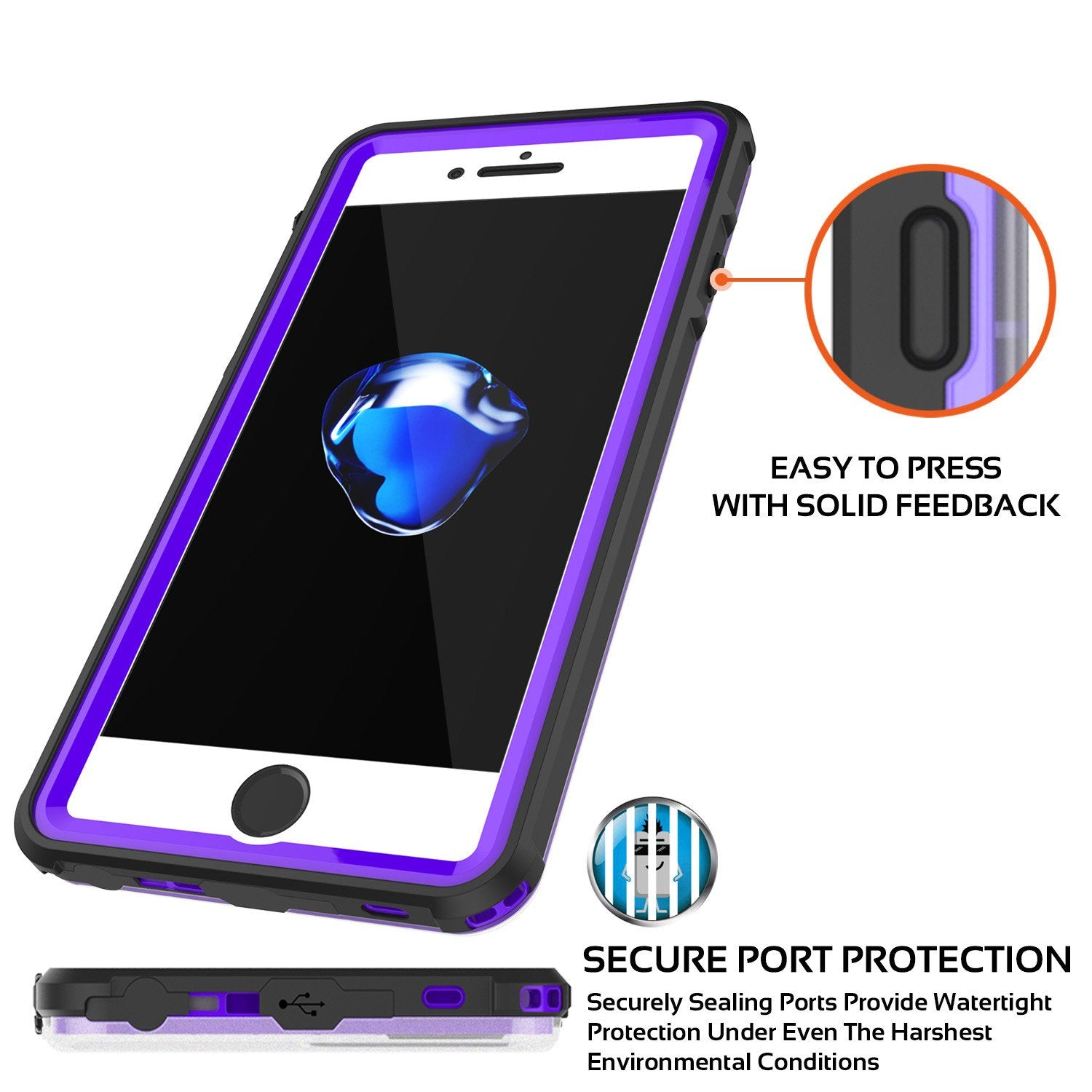 iPhone 7+ Plus Waterproof Case, PUNKcase CRYSTAL Purple W/ Attached Screen Protector  | Warranty - PunkCase NZ