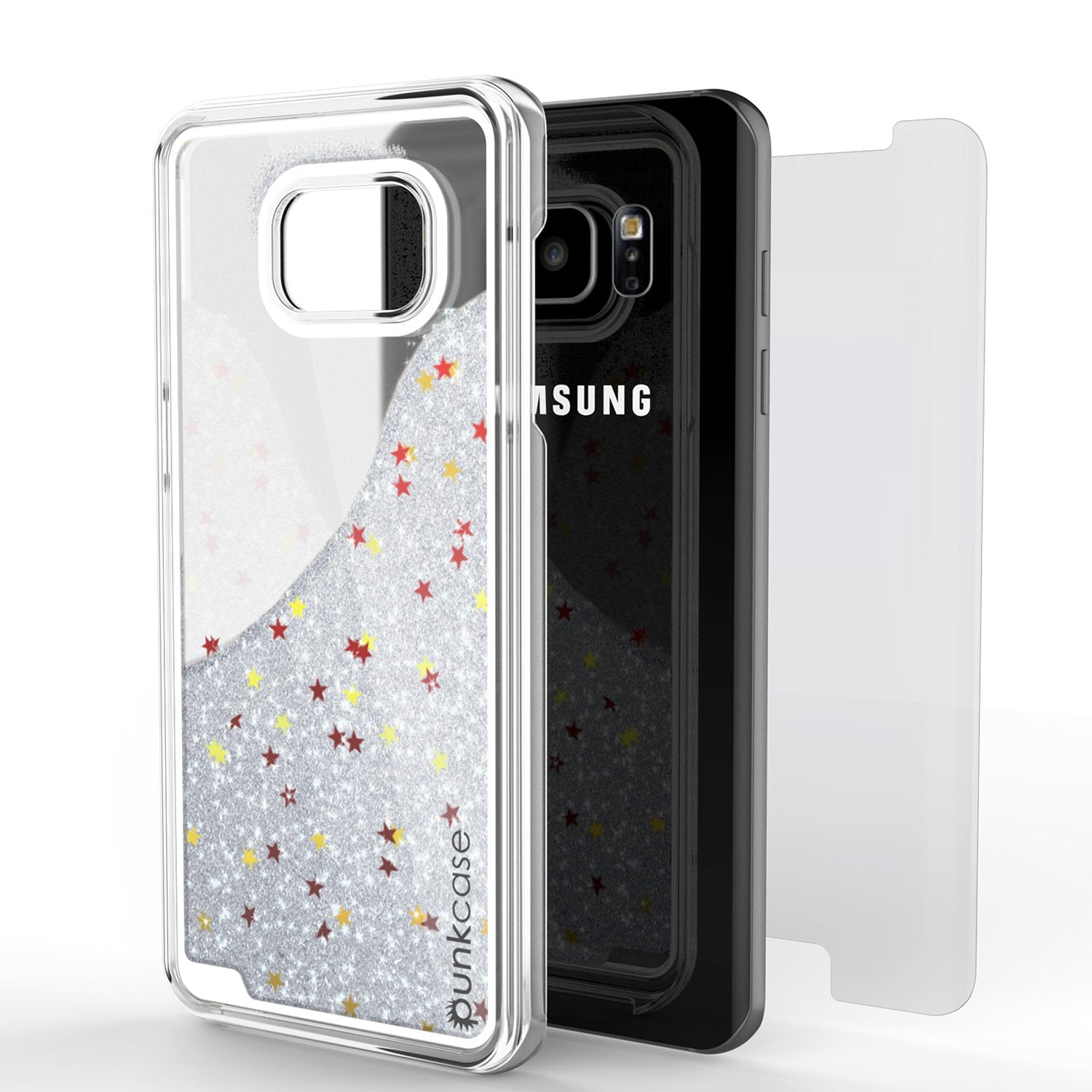 S7 Edge Case, Punkcase [Liquid Silver Series] Protective Dual Layer Floating Glitter Cover with lots of Bling & Sparkle + PunkShield Screen Protector - PunkCase NZ