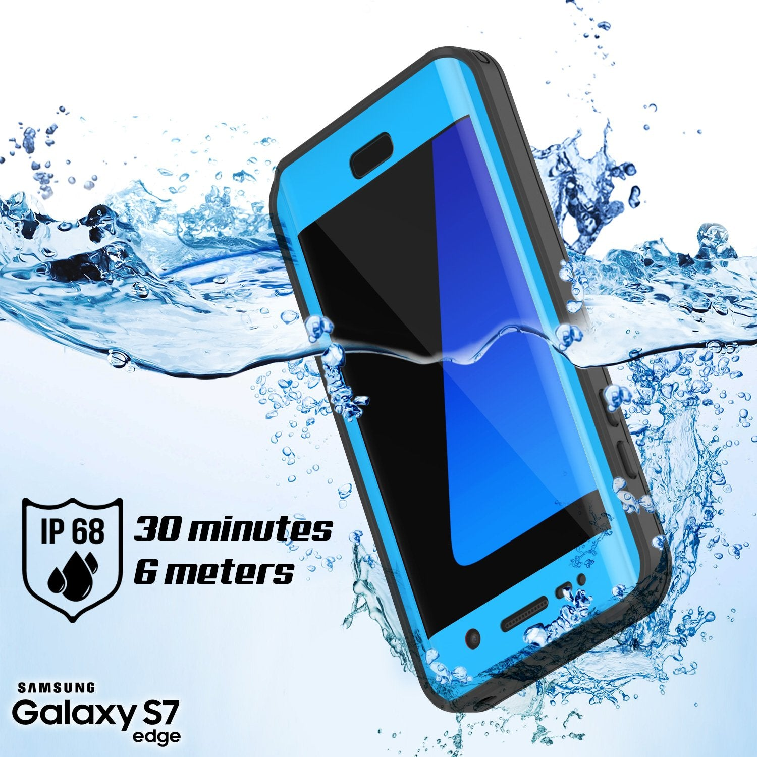 Galaxy S7 Edge Waterproof Case, Punkcase [Extreme Series] [Slim Fit]  Armor Cover W/ Built In Screen Protector [LIGHT BLUE] - PunkCase NZ