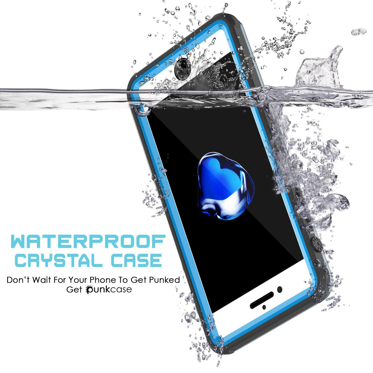 iPhone 8+ Plus Waterproof Case, PUNKcase CRYSTAL Light Blue  W/ Attached Screen Protector  | Warranty - PunkCase NZ