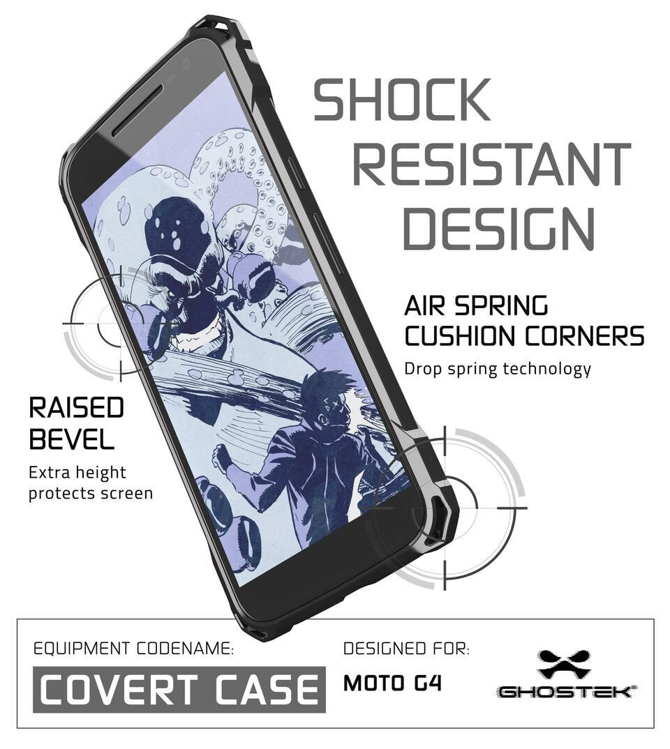 Moto G4 Case, Ghostek Covert Dark Grey Series | Clear TPU | Explosion-Proof Screen Protector - PunkCase NZ
