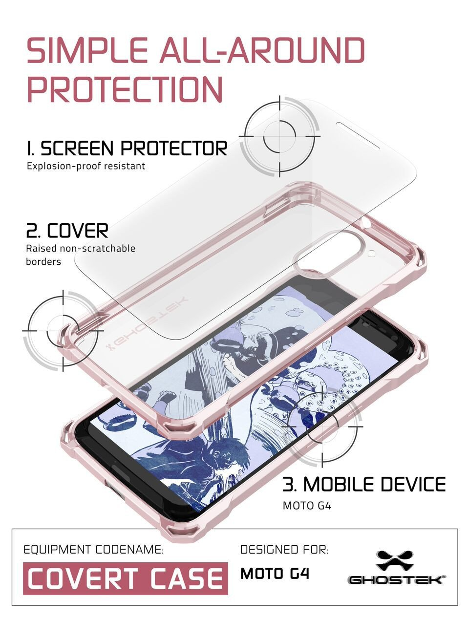 Moto G4 Case, Ghostek Covert Rose Pink Series | Clear TPU | Explosion-Proof Screen Protector - PunkCase NZ
