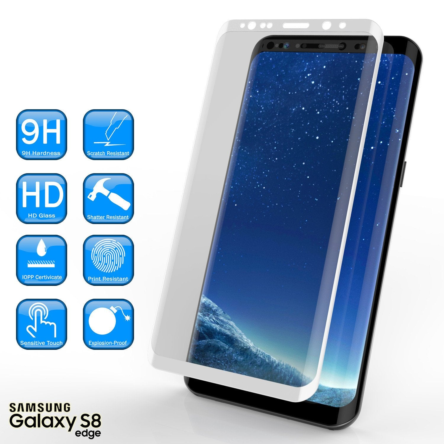 Galaxy S8+ Plus  White Punkcase Glass SHIELD Tempered Glass Screen Protector 0.33mm Thick 9H Glass - PunkCase NZ
