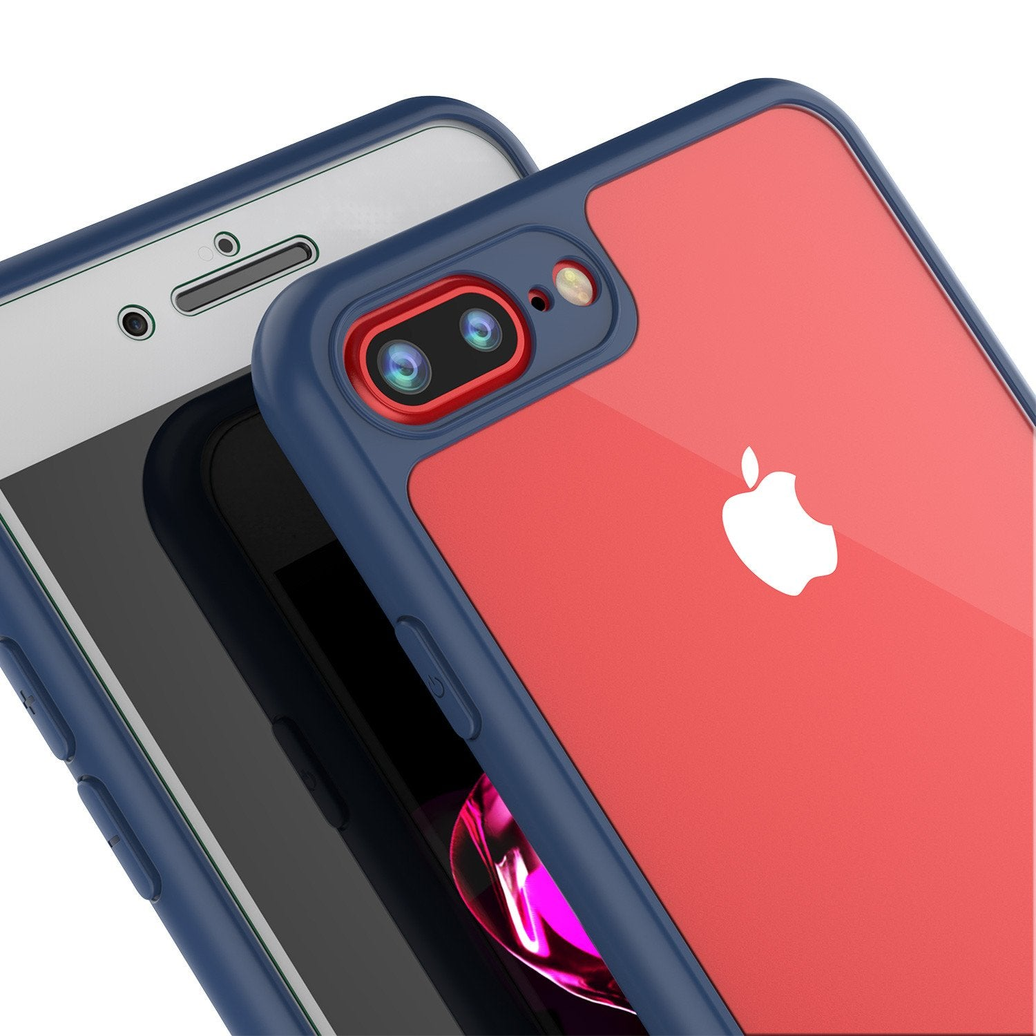 iPhone 7+ Plus Case [MASK Series] [NAVY] Full Body Hybrid Dual Layer TPU Cover W/ protective Tempered Glass Screen Protector - PunkCase NZ
