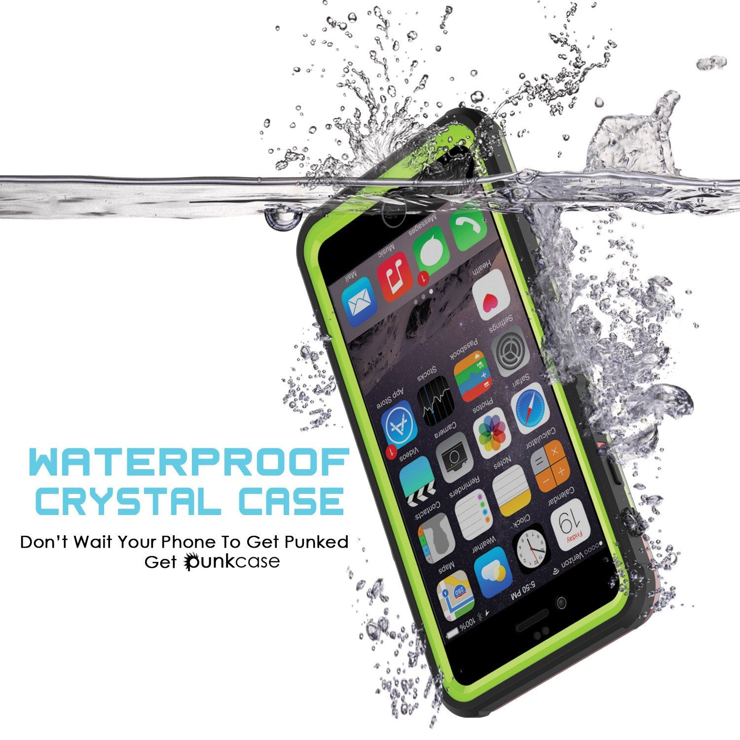 iPhone 6/6S Waterproof Case, PUNKcase CRYSTAL Light Green  W/ Attached Screen Protector  | Warranty - PunkCase NZ