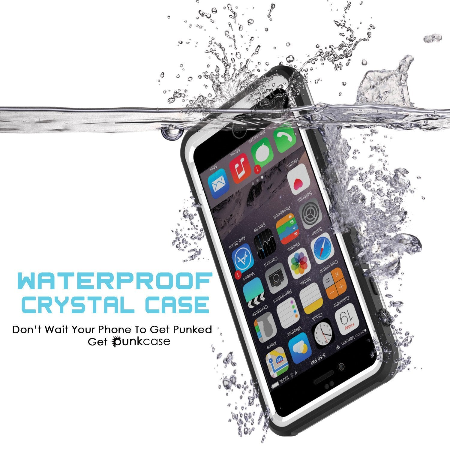 iPhone 6+/6S+ Plus Waterproof Case, PUNKcase CRYSTAL White W/ Attached Screen Protector | Warranty - PunkCase NZ