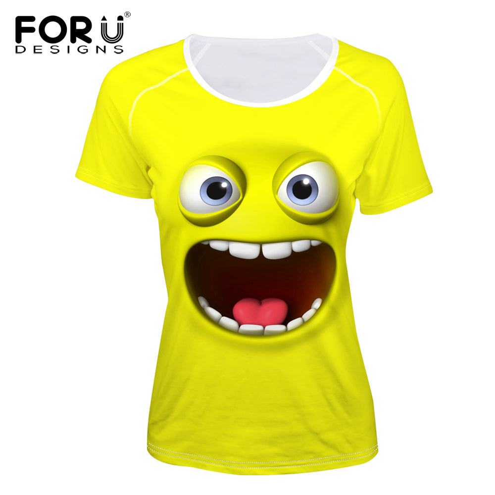 ... 3D Emoji T Shirt for Women, Cute printed, Realistic graphics, Designer  Smiley Faces ...