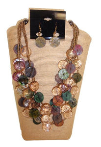 5 Strands Shell and Resin Multi Strands Necklace Set Multi Color by IVETH