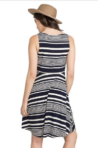 Knotted Waist Stripe Dress by IVETH