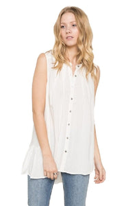 Sleeveless Button Down Back Ruffle Blouse by IVETH