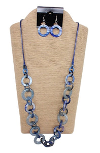 Wax Cord with Round Shells and Resin Rings Necklace Set