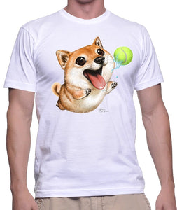 Shiba Inu T-shirt play ball with me a must gift for Shiba Inu lover , White