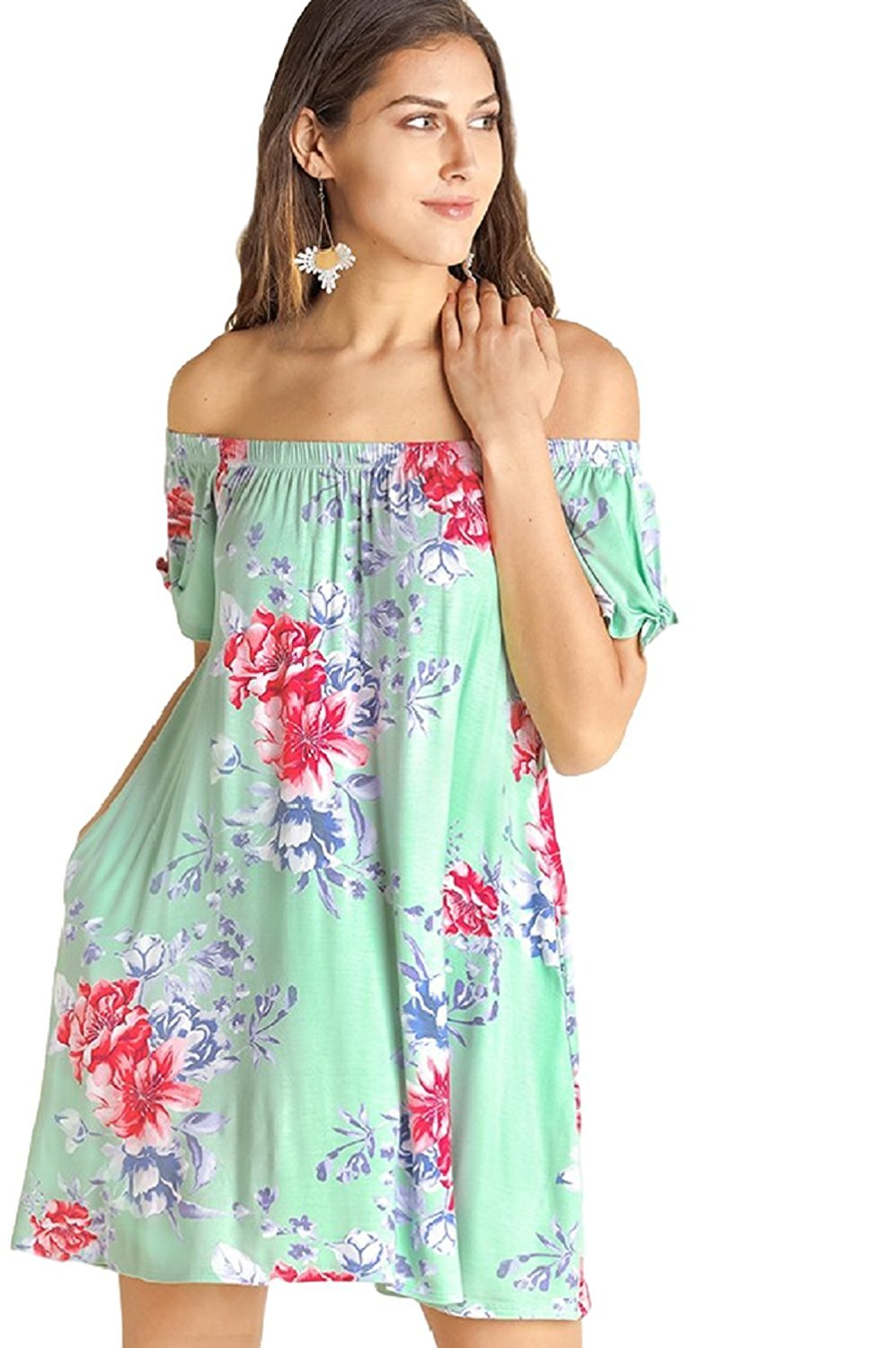 IVETH Off Shoulder Floral Print Dress with Flutter Sleeve,  Sage